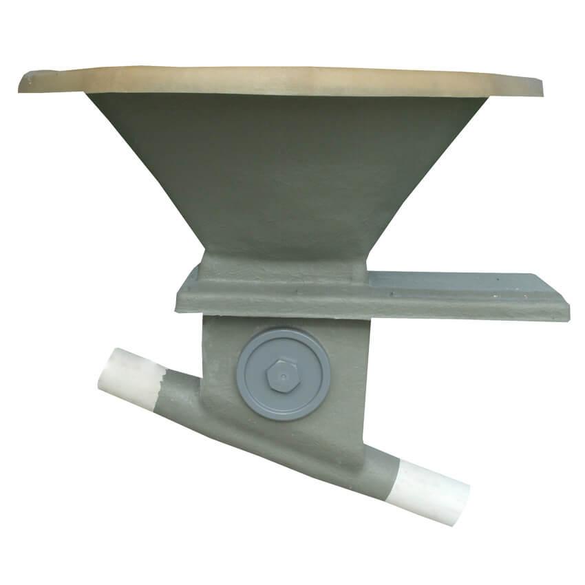 Boitard orientable de 0 à 45° sur collerette avec trappe inox et tube de départ