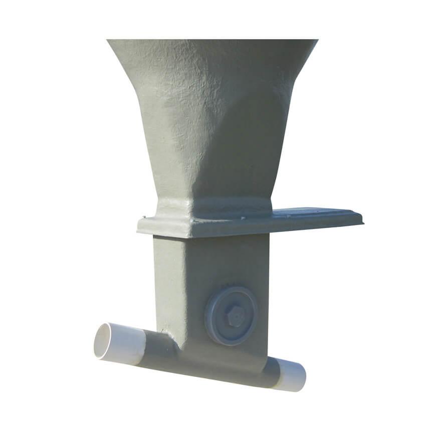 Boitard orientable de 0 à 45° sur tube Ø 300 avec trappe inox et tube de départ