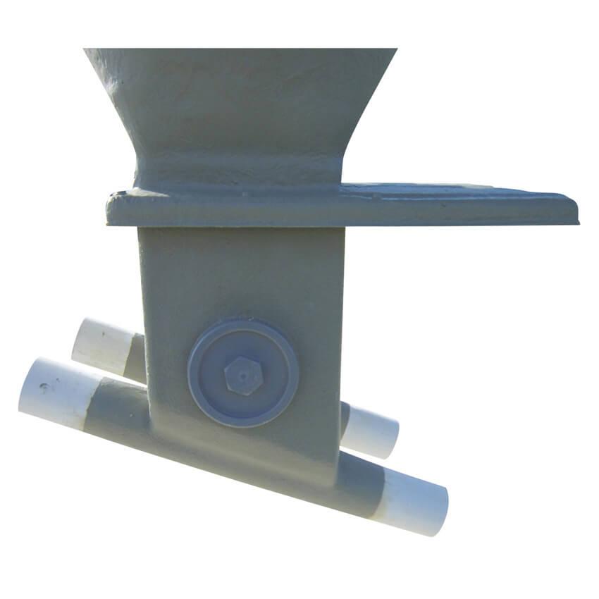 Boitard double orientable de 0 à 45° sur tube Ø 300 avec trappe inox et tube de départ