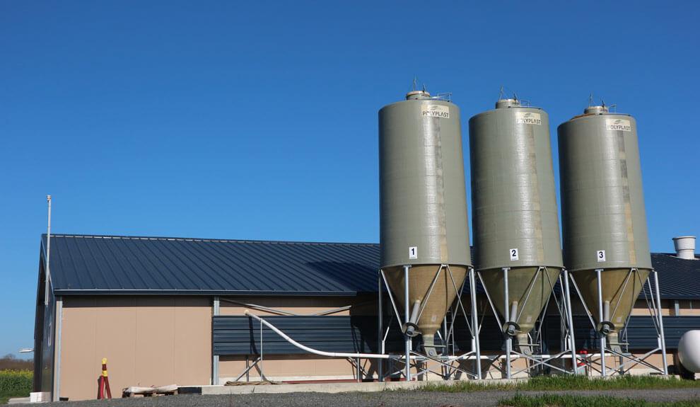 3 silos gris avec cône axial et l'option goulotte d'ensachage