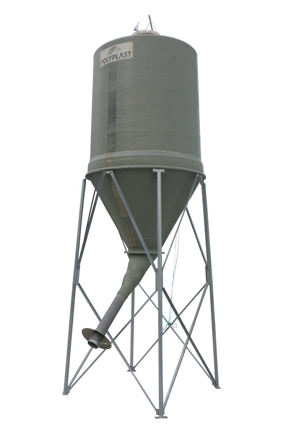 Silo à grain agricole avec cône axial et goulotte déportée