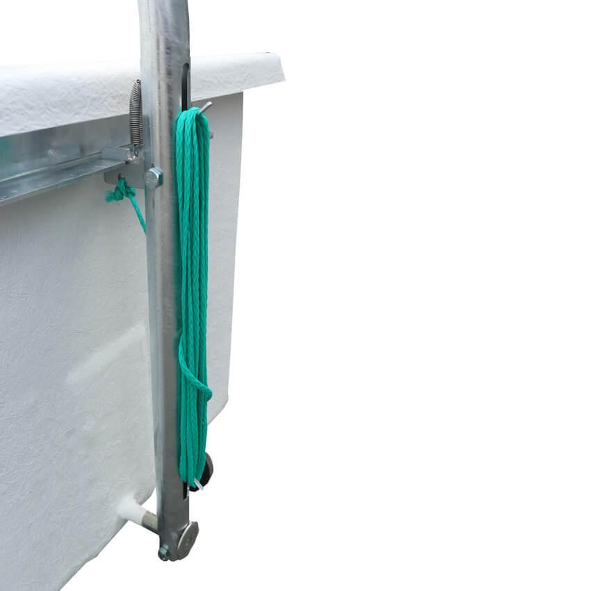 Système de verrouillage avec enroulement de la cordelette sur le bac d'équarrissage